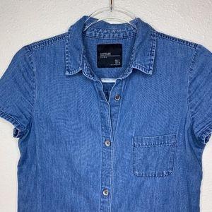 Zara - Denim Raw Hem Shirt Dress
